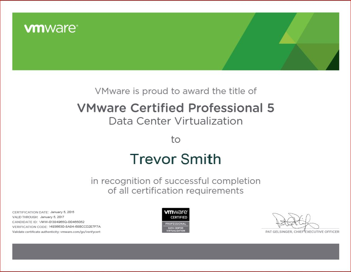 VCP5-DCV Certificate